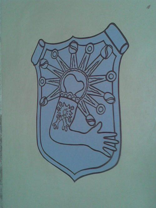 Escudo Alcohua (el pueblo de Nezahualcóyotl) en el convento Agustino de Acolman